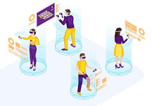 VR technology isometric vector illustration