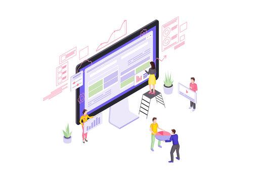 Website builder isometric vector illustration