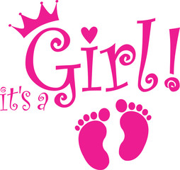 It's a girl banner, vector illustration