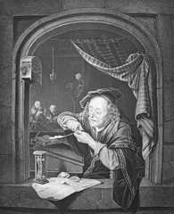 Old man, who prepares feather to write engraved in the vintage book the Painting Galleries of Europe, by M.O. Wolf, 1863