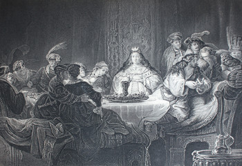 The feast of Agasphere by Rembrandt engraved in the vintage book the Painting Galleries of Europe, by M.O. Wolf, 1863