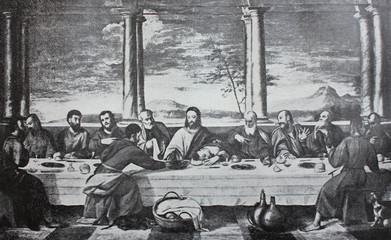 The Last Supper by Bonifacio Veronese in the vintage book The Florence, the painting gallery, by E. Dolgova, 1904