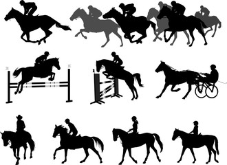 riding horses silhouettes set. equestrian sport and recreation