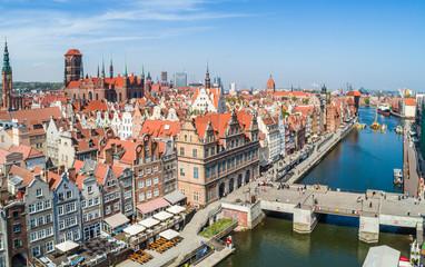 Gdańsk stare miasto. Zielony Most i Zielona Brama z lotu ptaka.