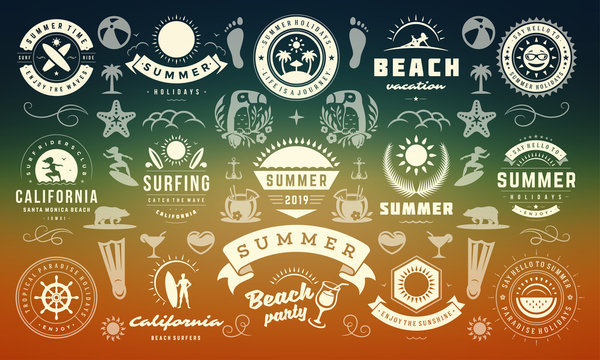 Summer labels and badges design set retro typography for posters, greeting cards and banners.