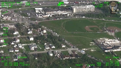 View of sports field after a series of tornadoes touched down in the state, seen above Dayton, Ohio