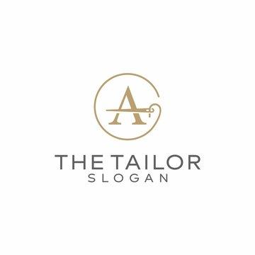 Letter A thread logo. Needle icon vector design. Tailor logo design