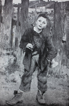 Pas Mèche (Nothing doing) (Young poor boy) by J. Bastien-Lepage in the vintage book One hundred masterpieces of art by O.I. Bulgakov, 1903