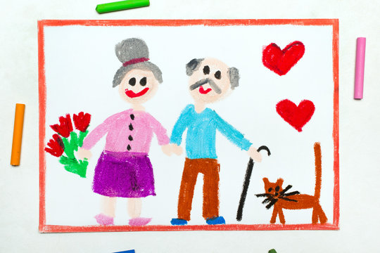 Colorful drawing: Grandparents Day card