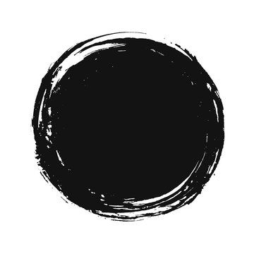 A circular background of black ink drawn by hand with a brush.