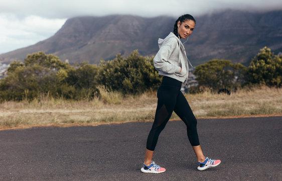 Sports woman on morning walk