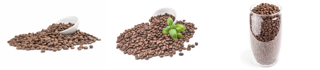 Collection of brown coffee on a white background Wall mural