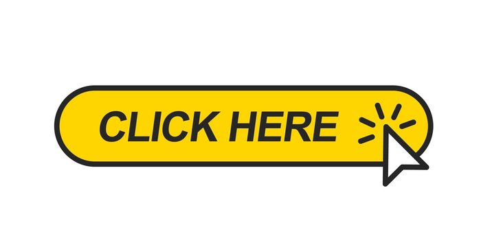 Click here. Mouse cursor clicking on the yellow button. Icon for web design isolated on white background.