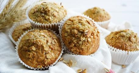 Homemade Oatmeal Granola muffins, selective focus