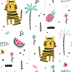 Fototapete - Seamless background with doodle tigers