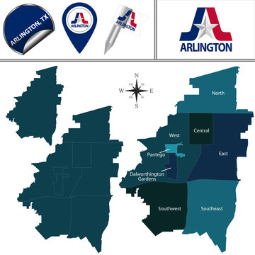 Map of Arlington, TX with Districts