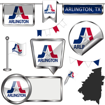Glossy icons with flag of Arlington, TX