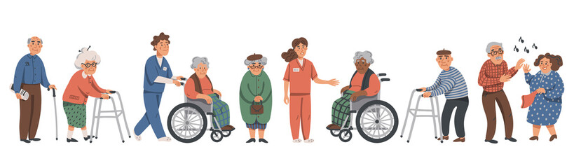 Elderly people and social workers. Grandparents and nurses on a white background. Vector illustration in a flat style. Fototapete