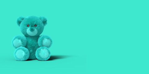 Blue toy bear is sitting on the floor on a blue background. Abstract image. Minimal concept toys business. 3D render.