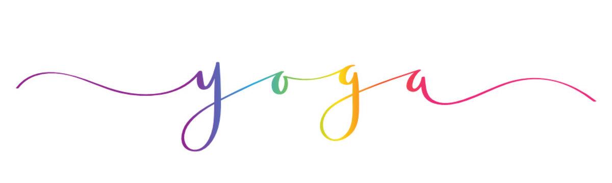 YOGA rainbow brush calligraphy banner
