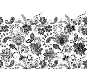 Border Indian floral Paisley patten. Seamless ornament print. Ethnic Mandala towel. Vector Henna style. Can be used for greeting business card background, coloring book, backdrop, textile