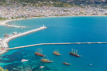 Aerial View of the harbor of Alanya in Turkey