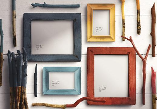 Ensemble de maquette de cadre photo en bois