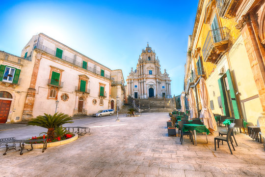 The baroque Saint George cathedral of Modica and Duomo square in Ragusa