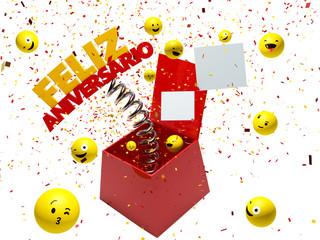 Feliz Aniversario, Happy birthday in Portuguese  box surprise - 3d render - Path save