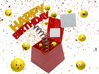 Happy birthday in box surprise - 3d render - Path save