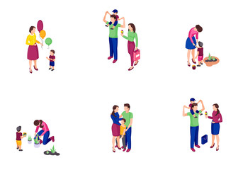 Family time isometric color vector illustrations set Wall mural