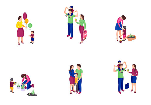 Family time isometric color vector illustrations set