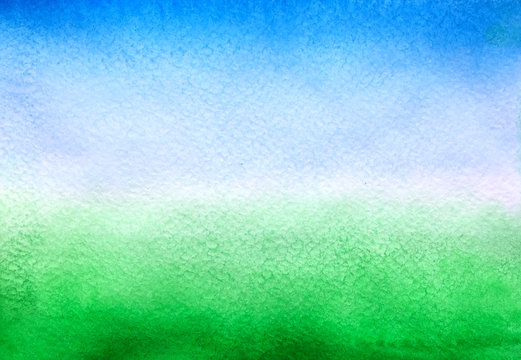 Hand drawn watercolor gradient background similar to the sky and green grass