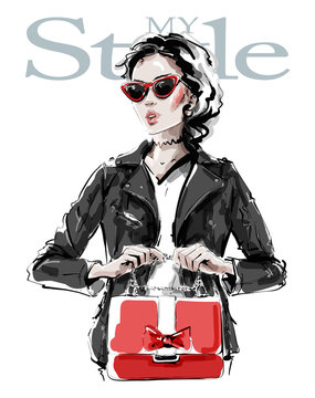 Hand drawn beautiful young woman in black leather jacket. Stylish elegant girl with red bag. Fashion woman look. Sketch. Vector illustration.
