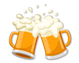 Two glasses of beer clink together on a white background.