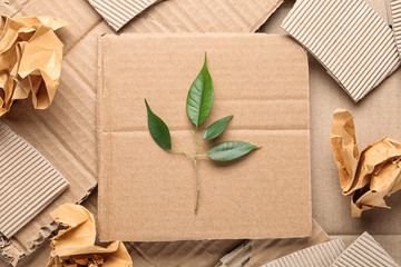 Flat lay composition with pieces of cardboard and green branch. Recycling problem Wall mural