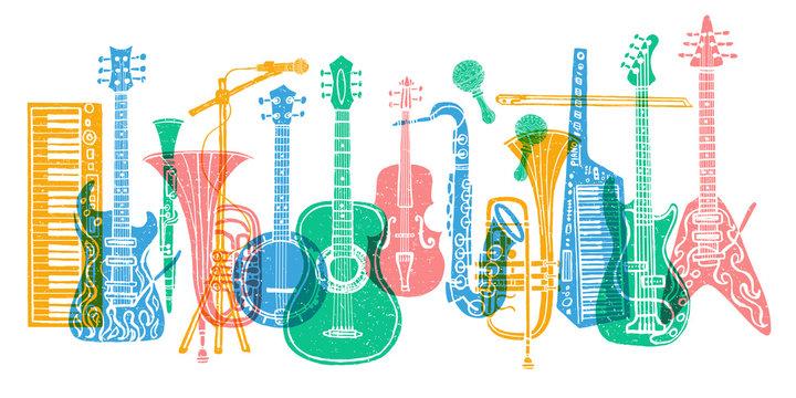 Musical instruments, guitar, fiddle, violin, clarinet, banjo, trombone, trumpet, saxophone, sax, music lover slogan graphic for t shirt design posters prints. Hand drawn vector illustration.