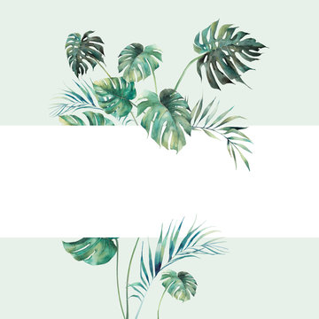 Watercolor tropical flora frame. Ready to use card design with exotic leaves and branches. Botanical label