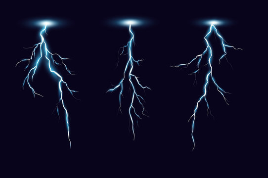 Vector illustration of lightning set in realistic style on dark blue background. Thunderbolts collection, elements for power electrical energy concepts.