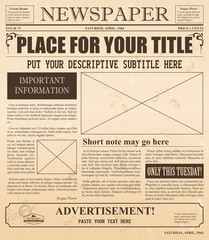 Vector illustration of old newspaper retro design. Vintage background with place for text and images.
