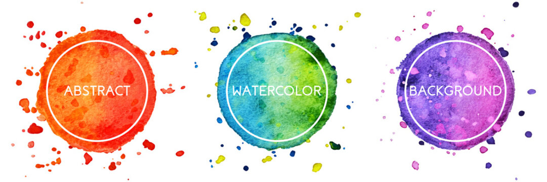 Set of 3 multicolor watercolor hand drawn circles background with splashes for logo, emblem isolated on white background