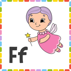 Funny alphabet. ABC flash cards. Cartoon cute character isolated on white background. For kids education. Learning letters. Vector illustration.