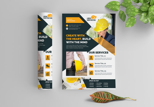 Construction Flyer Layout with Layered Photo Elements
