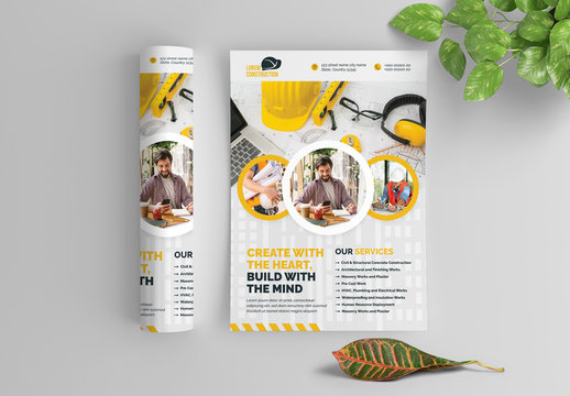 Building Flyer Layout with Yellow Accents and Circular Photo Elements