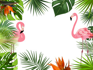Vector tropical jungle frame with flamingo, palm trees, flowers and leaves on white background