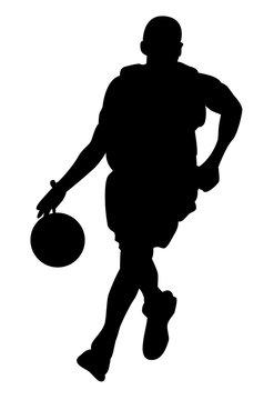 Silhouette noire de basketteur dribblant avec un ballon sur fond blanc