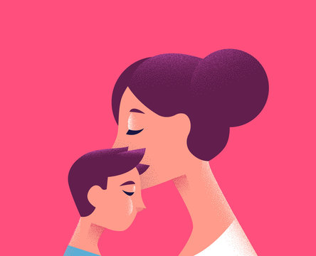 Mom and child kissing for family love concept