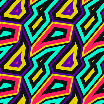 Vector abstract seamless pattern with geometric shapes, colorful angular elements. Retro vintage art print. Memphis style design, 1980s - 1990s fashion. Urban texture. Trendy repeatable background