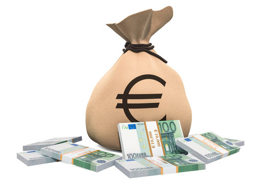 Money bag with euro packs, 3D rendering