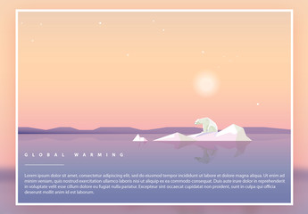 Climate Change Geometric Illustration Poster Layout with Polar Bear